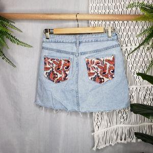 PacSun Repurposed Mini Distressed Skirt Patchwork